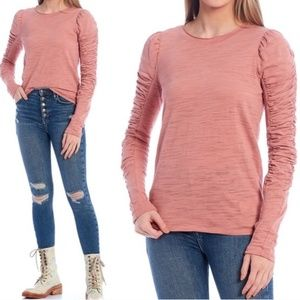 Free People Ruched Long Sleeve Top